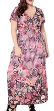 Abetteric Womens Summer Plus Size Butterfly Print Long Maxi Dress