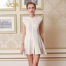 VOA 2017 Summer Fashion New Brief Sexy Silk Jacquard Blouse Women Short Sleeve Casual Office White Shirt Dress B6660