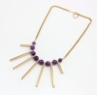 Rowed Ba Bib Natural Purple Stone Choker Necklace For Women And Girl