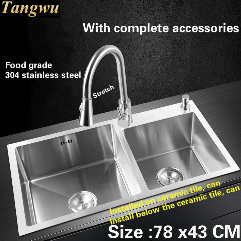 Free shipping Food grade 304 stainless steel kitchen sink 4 mm thick dishwashing ordinary large double groove 780x430 MM fast food leisure fast food equipment stainless steel gas fryer 3l spanish churro maker machine
