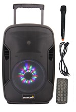 STARAUDIO Professional PA 10″ 1500W Lively Recharge Battery DJ Stage Membership Speaker W/ LED Lighting 1 Mic SBM-10RGB