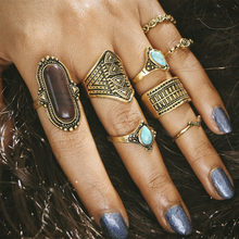 8 pieces/set Knuckle Rings Sets For Women Jewelry Antique Gold Silver Color Blue Stone Crystal Flower Midi Finger Bohemian Ring(China)