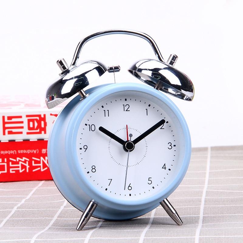 3.5 Night Light Silent No Ticking Home Decor Clocks Double Bell Children Creative Metal Alarm Clock Portable Desktop Clocks