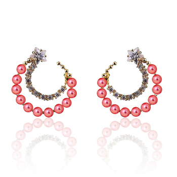 Women's Drop Crystal Earrings Earrings Jewelry Women Jewelry Metal Color: E015 Pink