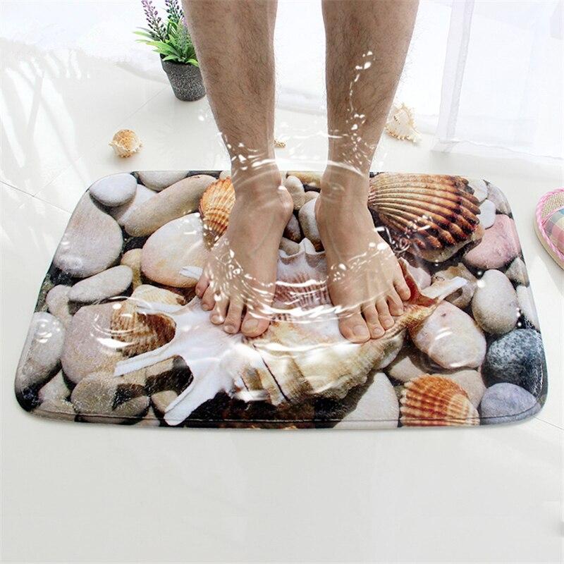 Honlaker 3D Muschel Badematte Flanell Saugfähigen Rutschfeste Fußmatte für Eingangstür