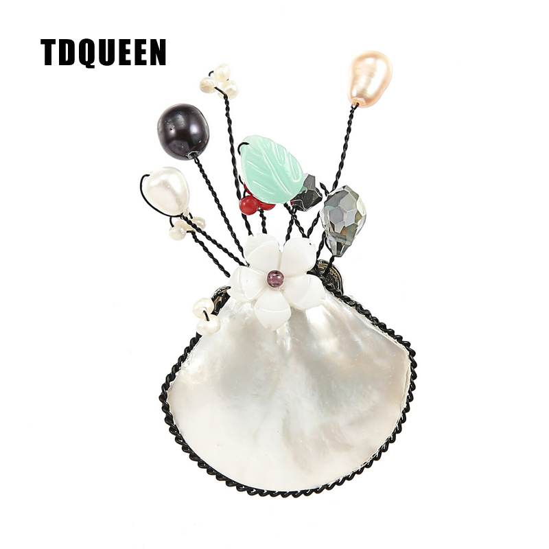 TDQUEEN Brooches Pearl Shell Flower Brooch Elegant Handmade Safety Pin Jewelry Brooch Bouquet for Women
