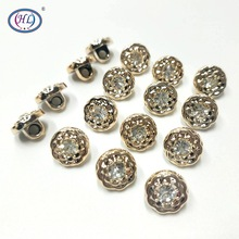 HL 50PCS/lot 11MM New Plating Buttons With Rhinestones Shank DIY Apparel Sewing Accessories Shirt