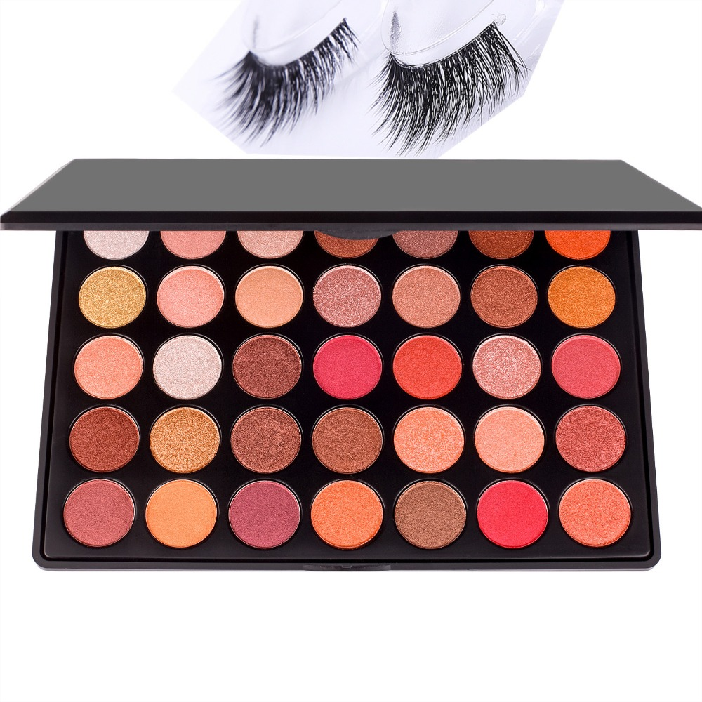 DE'LANCI 35 Colors Shimmer Matte Eye shadow Professional Makeup Eyeshadow Palette With Mink False Eyelashes Gift for Women paulo coelho der alchimist