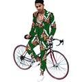 Blazer establece hombres de la moda de impresión africano dashiki africano trajes hechos a medida blazers y pantalones fijados ropa de áfrica