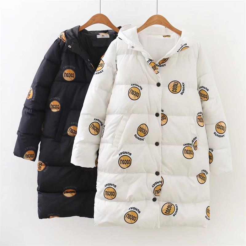 4XL Plus size womens long jackets Letter printing long winter jacket women 2017 fashion A-Line Hooded casaco feminino plus size letter print hooded sweatshirt dress