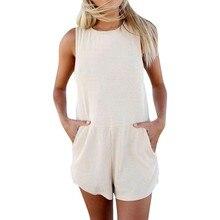 Женская одежда OL Solid летние свободные палевые костюмы летние с карманами без рукавов женские высокие уличные Комбинезоны# Zer