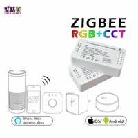 DC12 24V ZIGBEE Led Controller Smart APP RGB +CCT WW CW RGBW zigbee strip controller LED Dimmer work Amazon Alexa Echo