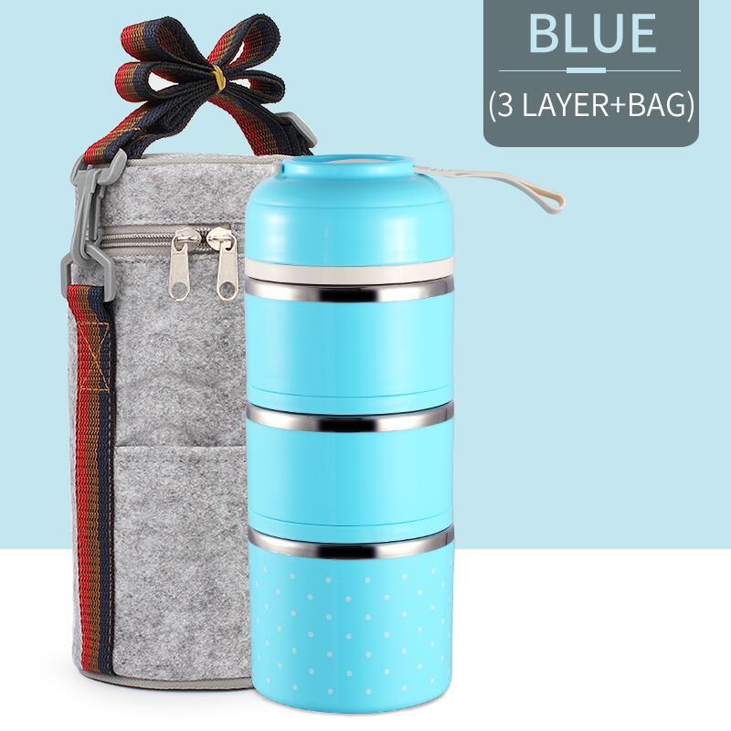 Милые детские Термальность Коробки для обедов герметичность Нержавеющая сталь Bento box для детей Портативный Пикник школа Еда контейнер Box - Цвет: Blue 3 With Bag