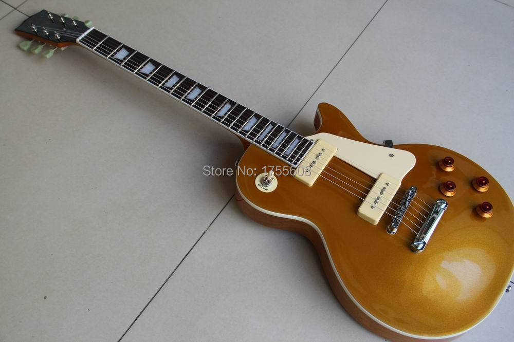 Wholesale Free shipping custom 1956 goldtop with P90 pickups electric guitar LP gold guitar 120323 electric guitar musical instrument lp standard p90 hh pickups chrome parts no pickguard