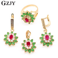Gzjy Fashion Jewelry Flower Champagne Gold Color Green&Red Aaa Cubic Zirconia Nacklace Pendant Earrings Ring Set