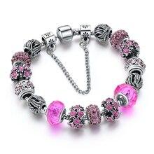 2018 European Crystal Charm  Bracelets For Women With DIY Glass Beads Bracelets & Bangles Pulseras DIY Jewelry SBR160010