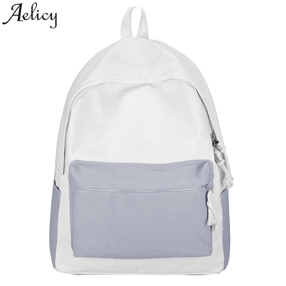 Women Girl Hit Color Backpack Student Travel School Preppy Bag Crossbody Bag