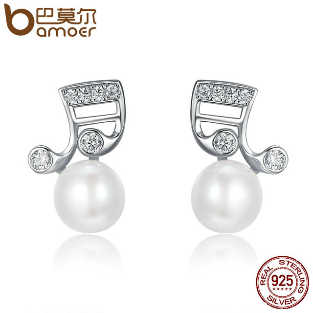 Fashion earrings beautiful music notation S925 Sterling Silver Stud Earrings Women TS2z8b5EN