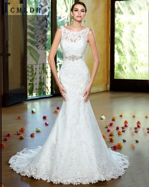 Tcmldr Sexy Mermaid Pinggang Beaded Wedding Dresses O Neck Tanpa