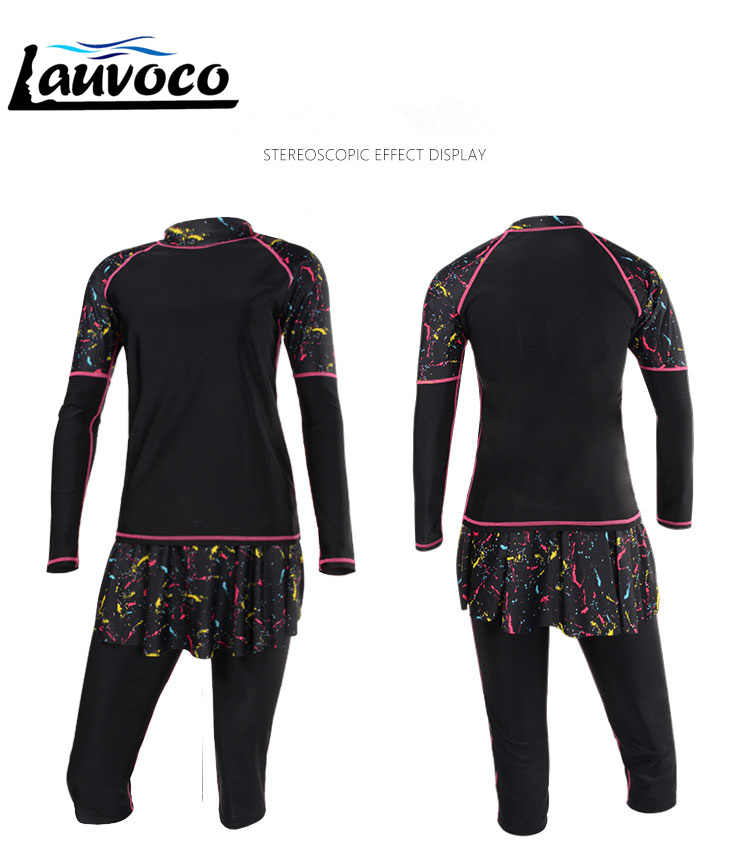 2019 Wanita Plus Ukuran Sport Baju Renang 2 Buah Lengan Panjang Baju Renang Ukuran Besar Musim Panas Pakaian Pantai Surfing Suit 6XL