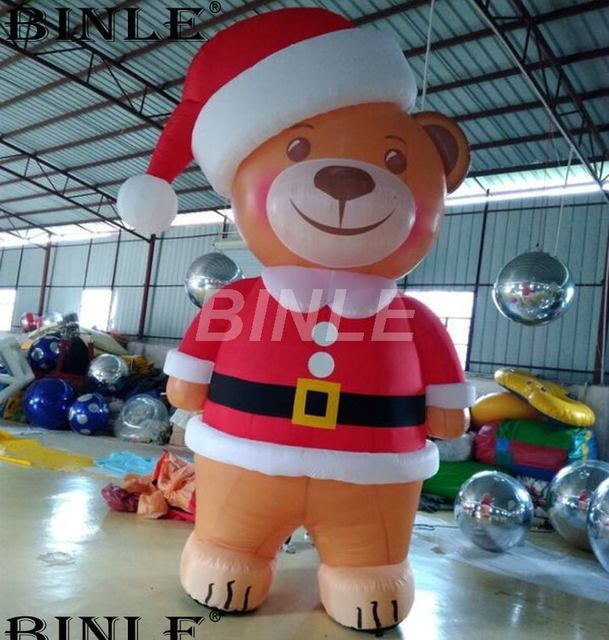 outdoor airblown cute 3m 10ft giant inflatable teddy bear with santa hat for christmas decoration