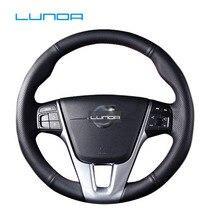 LUNDA для Volvo S60 V40 V60 V70 XC60 черный Микро волокно кожаный чехол рулевого колеса автомобиля аксессуары