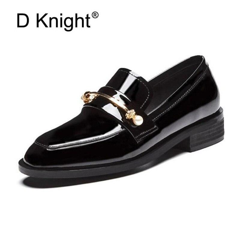 selección premium 60abf 76ad1 € 52.3 50% de DESCUENTO|2019 primavera nuevos mocasines de mujer británica  zapatos Oxford de charol para mujer zapatos planos casuales de punta ...