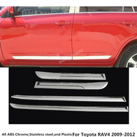 Top For Toyota RAV4 2009 2010 2011 2012 car styling cover ABS chrome Side Door Body trim stick Strip lamp Molding bumper 4pcs