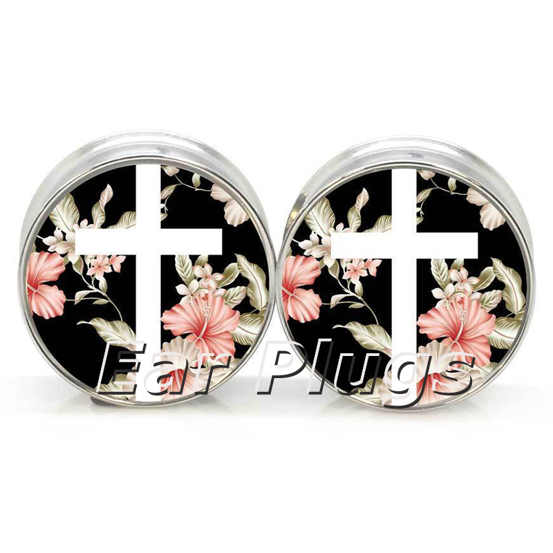 1 pair=2 pieces stainless steel Floral Cross plug tunnels double flare ear plug gauges body piercing jewelry