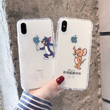Creative cat and mouse phone case for iPhone X XS XR Max 8 7 6 6S Plus anti-fall funny transparent cover
