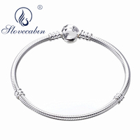 Slovecabin 2018 Valentine's Day Gift Argent 925 Sterling Silver Mickey Snake Bracelets For Women High Quality Indian Jewelry