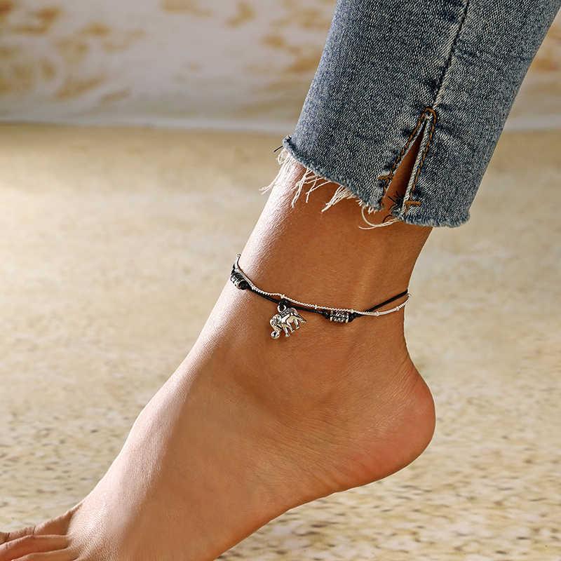 XIYANIKE ใหม่หลายชั้น Anklets สำหรับผู้หญิง Retro Elephant จี้เท้าเครื่องประดับรองเท้าแตะข้อเท้าสร้อยข้อมือขา