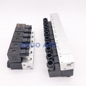 Image 2 - GOGO électrovanne pneumatique 3 voies en Aluminium 3V1 06 Port 1/8 pouces BSP AC DC micro commande vanne gaz électrique collecteur