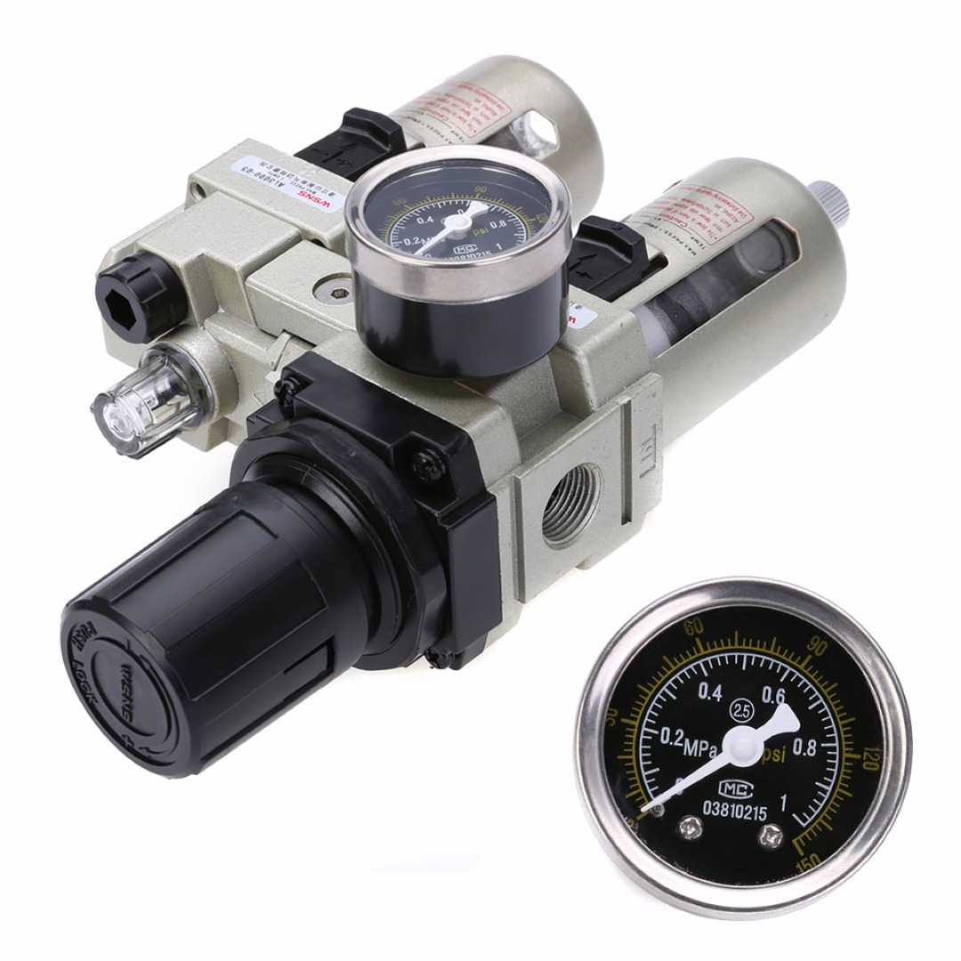 High Quality Air Compressor Oil Lubricator Water Separator Trap Filter Regulator Gauge With Pressor Gauge Mayitr Hot Selling free shipping g1 ports air filter regulator model aw5000 10 with pressure gauge 5pcs in lot high flow rate in stock