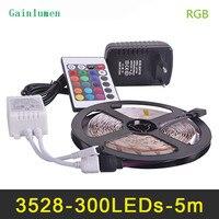 O rgb conduziu a luz de tira 3528smd fiexble 60led/m 5 m dc 12 v  fonte de alimentação conduzida da tira 2a lampada conduziu a luz