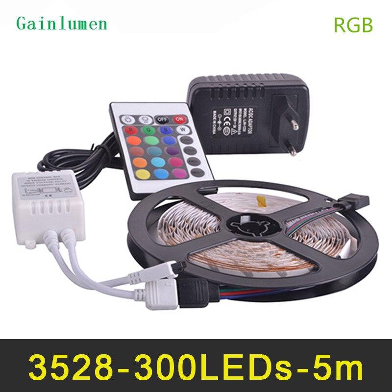 RGB Светодиодные ленты свет 3528SMD Fiexble света 60 светодиодный/M 5 м DC 12 В, светодиодные ленты Питание 2A лампада светодиодный Luz
