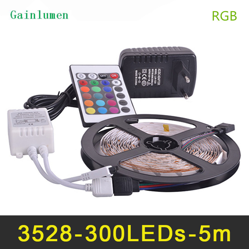 RGB LED Bande Lumière 3528SMD Fiexble Lumière 60LED/M 5 m DC 12 v, LED Bande Alimentation 2A Lampada LED Luz