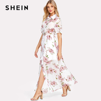 SHEIN Floral Print Shirt Dress Short Sleeve Maxi Boho Dress 2018 Summer Beach Vacation A Line