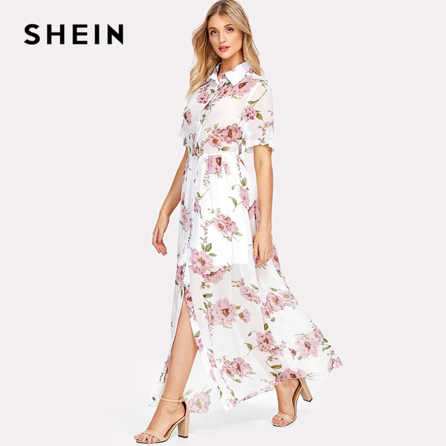 418183e113 SHEIN Floral Print Shirt Dress Short Sleeve Maxi Boho Dress 2018 Summer  Beach Vacation A Line Dress Button Front Pleated Dress