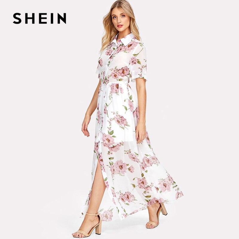 SHEIN Floral Print Shirt Dress Short Sleeve Maxi Boho Dress 2018 Summer Beach Vacation A Line Dress Button Front Pleated Dress