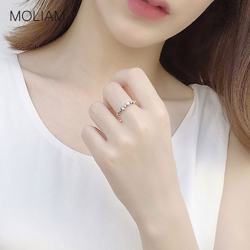 MOLIAM Vintage Simple Heart Adjustable Ring for Women Ladies Solid 925 Sterling Silver Open Cuff Finger Rings Jewelry MLRT0096