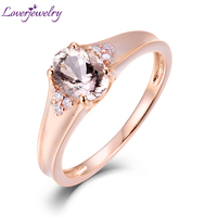 LOVERJEWELRY Ring Solid 14K AU585 Rose Gold Natural Morganite Diamond Wedding Rings For Women Valentine's Day Fine Jewelry
