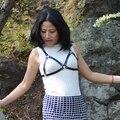 Mulher sexy lingerie de couro feitos à mão harajuku gótico rivet couro harness belt corpo gaiola harness2015 nova LT0013