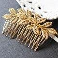 Ouro New Designer folha pente de cabelo de noiva grampos para mulheres enfeites de cabelo jóias