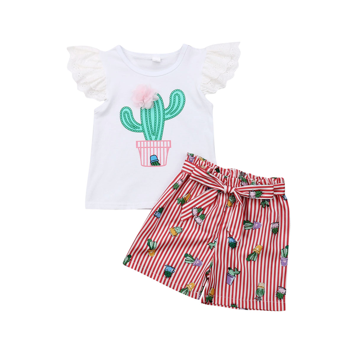 US 2PCS Toddler Baby Girls Lace Cactus Tops+Stripe Shorts Outfits Kids Clothing