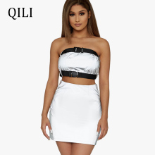 QILI 2 Piece Set Reflective Luminous Dress Strapless Patchwork Mini Dresses Sexy Night Club Party Women Two