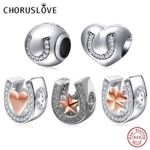 Choruslove Horseshoe Shape Charm Four Clover Heart Star Bead 925 Sterling Silver Beads Fit Pandora Charms DIY Bracelets Jewelry цена