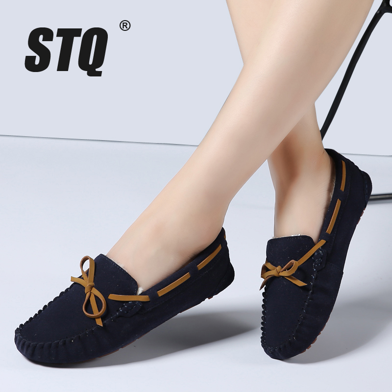 STQ 2016 autumn and winter women leather suede loafers shoes women flats moccasins oxford shoes woman fashion fur shoes 1208 suede