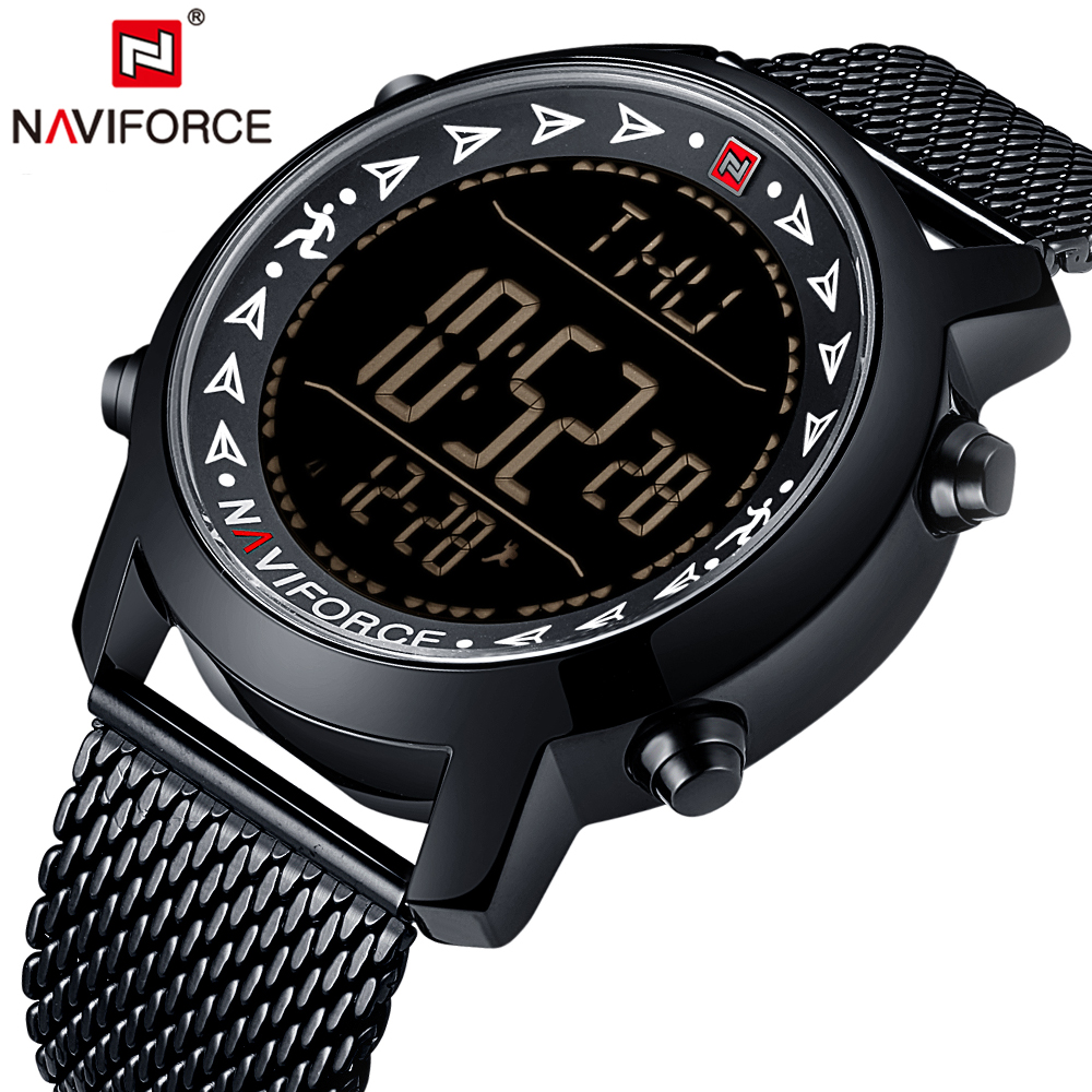 NAVIFORCE Men LED Digital Watch Sports Watches men's Relogio Masculino Relojes Stainless Steel Military Waterproof Wristwatches weide popular brand new fashion digital led watch men waterproof sport watches man white dial stainless steel relogio masculino