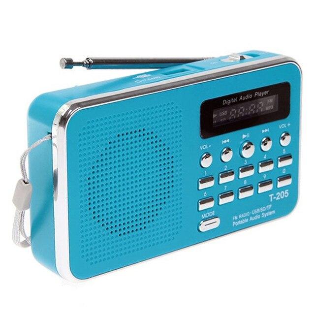 Изысканный Дизайн Т-205 Портативный HiFi Спикер Карт Цифровой Мультимедийный Белый Синий Цвет Громкоговоритель Мини FM Радио Регулятор Громкости